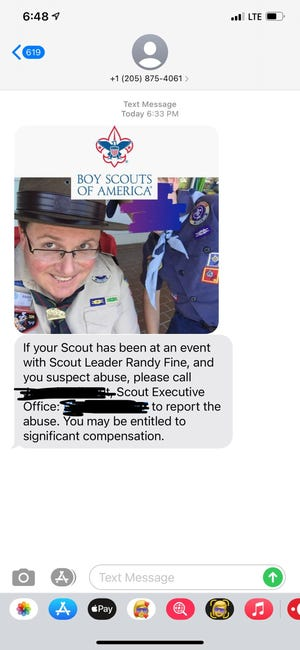 Robot text sent out Oct. 13 in Brevard implies Rep. Randy Fine abused Boy Scouts. Editor's note: the name and phone number for a Boy Scouts official was redacted from this image.