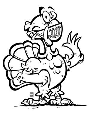 The Enquirer's naked 2020 Dress the Turkey bird.