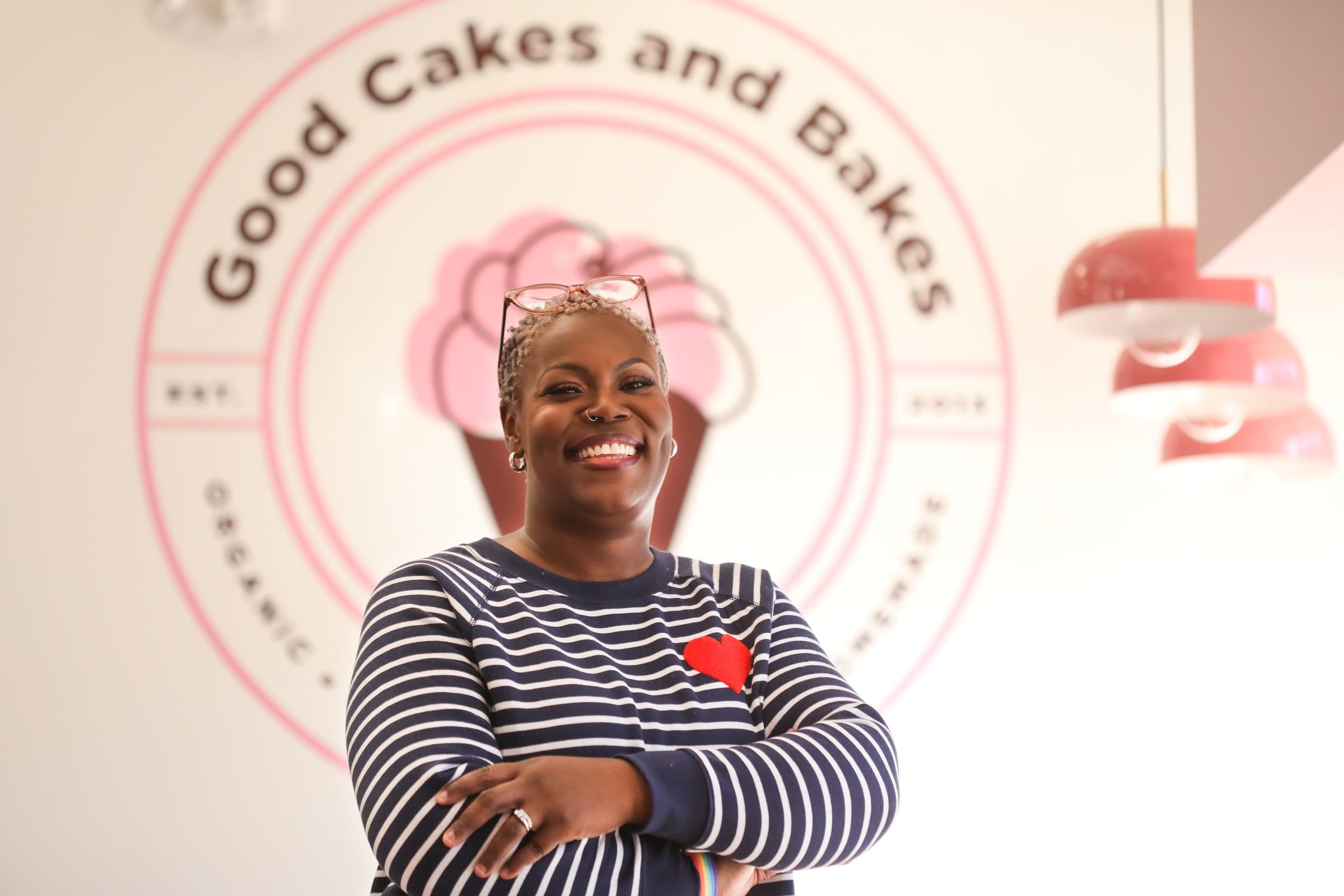 April Anderson is the co-owner of Good Cakes and Bakes on Livernois Avenue on the Avenue of Fashion in Detroit and is reopening Oct. 17th, after an interior remodel to increase kitchen and baking area for future cooking classes. The cafe area has also been remodeled and designed for social distancing.