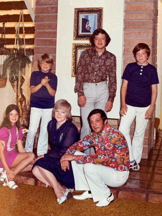 From left, seated: Valerie Bertinelli, Nancy Bertinelli, Andy Bertinelli. Standing: Patrick Bertinelli, Drew Bertinelli and David Bertinelli. Taken in 1972.