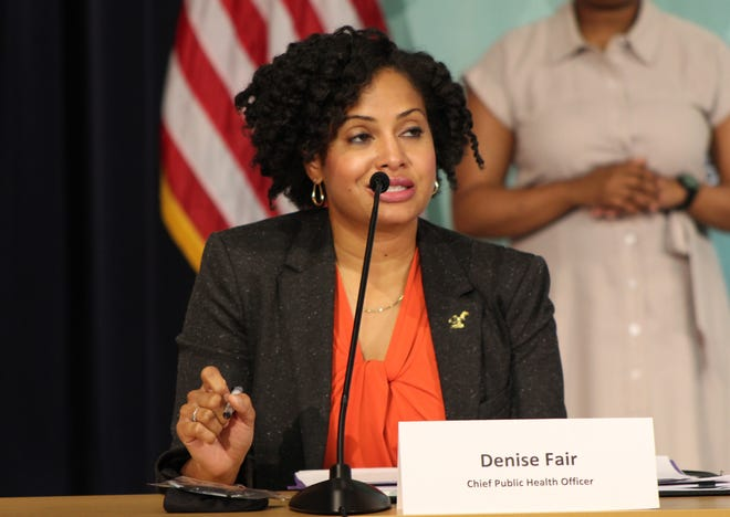 Detroit Chief Public Health Officer Denise Fair speaks at a press conference at Detroit Public Safety Headquarters on Oct. 14, 2020.