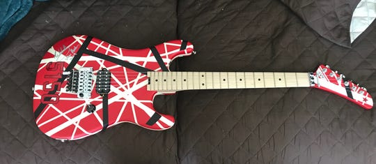 The EVH Striped Series 5150 guitar signed by rocker Eddie Van Halen and donated to St. Mary School in Charlevoix to raise money for the school during a fundraiser in February.
