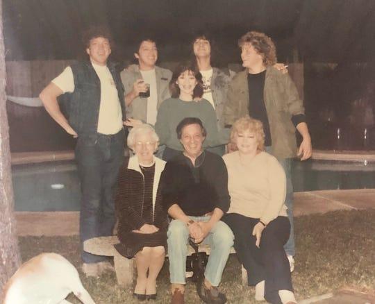 The Bertinelli family with Eddie Van Halen in Shreveport, Louisiana, unknown year. Second row, from left: David Bertinelli, Drew Bertinelli, Valerie Bertinelli, Edward Van Halen, Patrick Bertinelli. Front row, from left, Nonnie (Angeline Bertinelli), Dad (Andrew Bertinelli), Mom (Nancy Bertinelli)