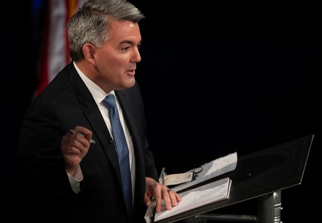 Republican U.S. Sen. Cory Gardner answers a question in the final debate in the 2020 race for Colorado's U.S. Senate seat at Colorado State University in Fort Collins, Colo. on Tuesday, Oct. 13, 2020.