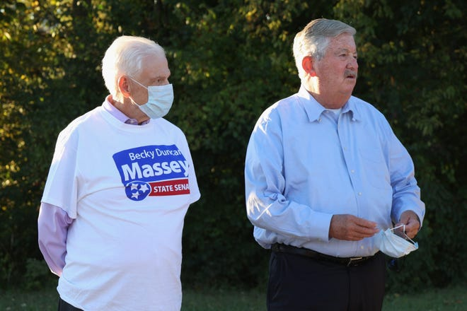 Senator Ken Yager and Lt. Governor Randy McNally during the Becky Duncan Massey Family Barbecue at Lakeshore Park in Knoxville, Tenn. on Tuesday, October 13, 2020.