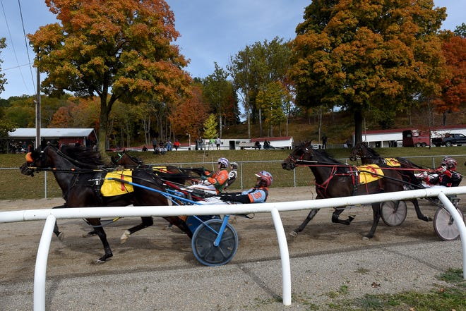 Spectators take in the harness racing from the hill overlooking the track on Wednesday, Oct. 14, 2020 at the Fairfield County Fair.