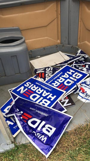 Biden/Harris yard signs were found in a portable toilet in a Delafield park.