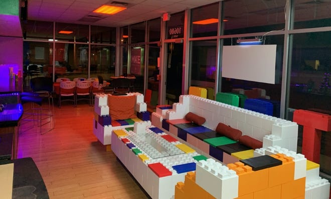 Tosa Block Party's new bar, The Brick Bar, features furniture built out of EverBlock bricks.