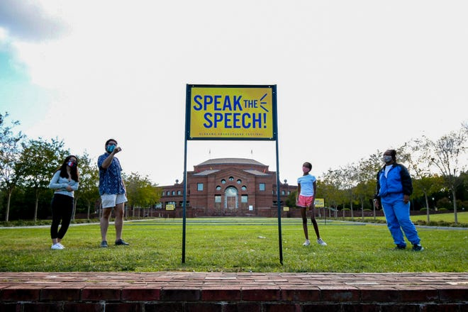 Panels are spread along ASFÕs grounds. Speak the Speech is an outdoor theatre installation at Alabama Shakespeare Festival that features works of American playwrights and William Shakespeare.