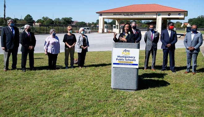 Montgomery School Superintendent Ann Roy Moore speaks on behalf of the proposed property tax increase in Montgomery to raise funds for education during a press conference in front of Maxwell Air Force Base in Montgomery, Ala., on Wednesday October 14, 2020.