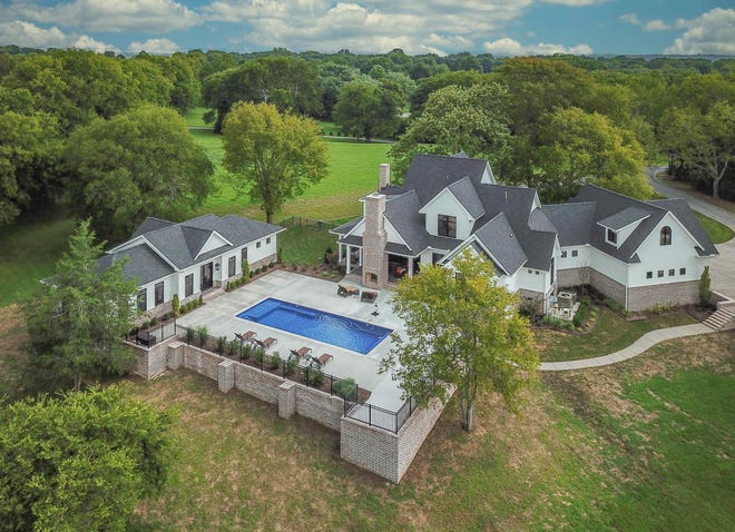 This drone shot of the house at 1106B Bradley Road in Gallatin shows the pool, the pool house and the size of the property.