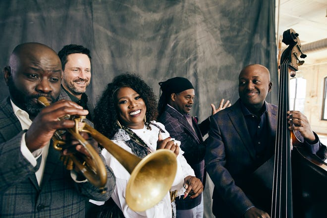 Ranky Tanky, a quintet from Charleston, S.C., plays modern arrangements of traditional Gulllah music. The members include trumpeter Charlton Singleton (far left).