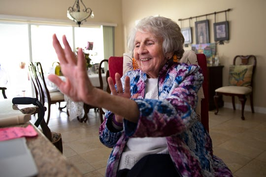 Jean Murphy, 92, participates in a Naples Senior Center on-line class, Tuesday, Oct. 13, 2020, at her home in East Naples.
