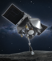 An artist's concept of NASA's OSIRIS-REx spacecraft collecting a sample from the asteroid Bennu.