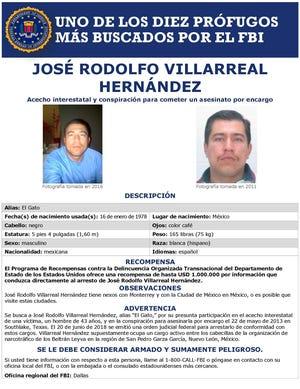 Fotografía cedida por el Buró Federal de Investigaciones (FBI) estadounidense de la tarjeta de búsqueda del narcotraficante mexicano José Rodolfo Villarreal Hernández, uno de los capos del Cartel Beltrán-Leyva.