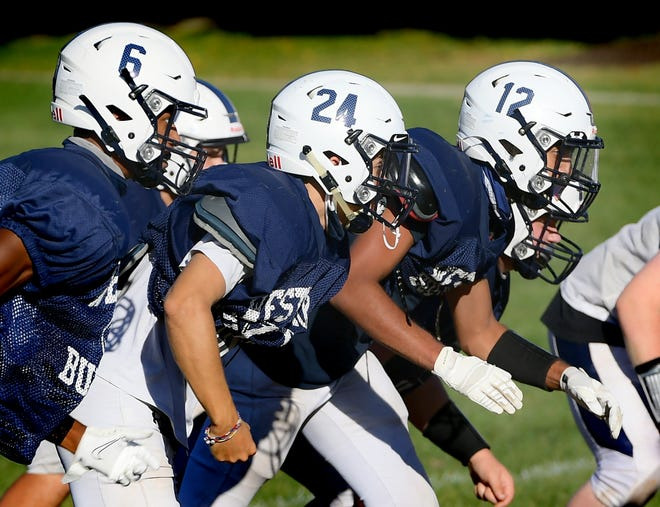 West York players practice at the school Wednesday, Oct. 14, 2020. The 2-0 Bulldogs play a home conference game against Kennard-Dale Friday. Bill Kalina photo