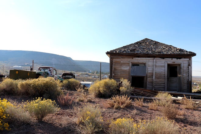 A warped wooden house in Goldfield, Nevada, the seat of Esmeralda County.