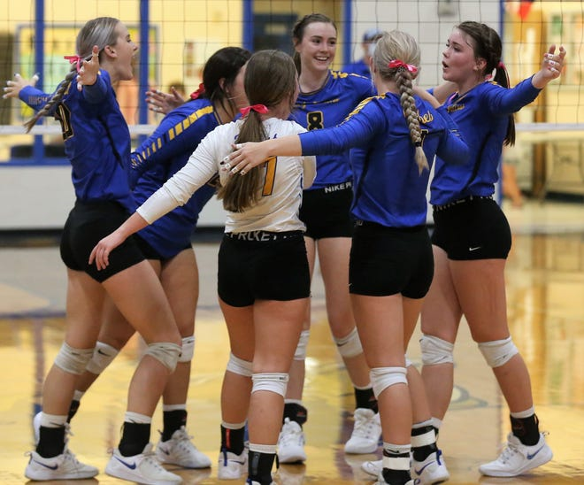 The Veribest High School volleyball team celebrates after beating Bronte to clinch the District 7-2A championship at the Veribest gym on Tuesday, Oct. 13, 2020. It's the first district volleyball title in program history for the Lady Falcons.