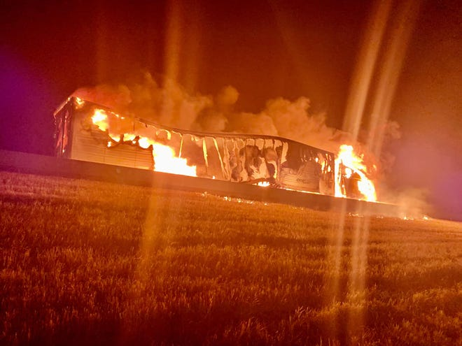 Northbound lanes of Interstate 29 near Tea were closed for hours Wednesday morning as authorities responded to a semi truck fire.