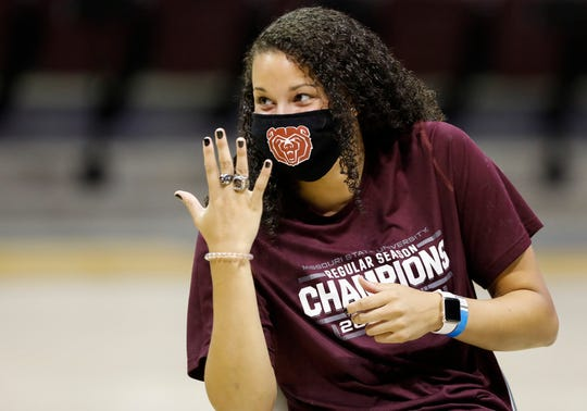 The Missouri State Lady Bears received their Missouri Valley Conference championship rings during a ceremony at JQH Arena on Tuesday, Oct. 13, 2020.