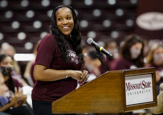 Missouri State Lady Bears head coach Amaka ÒMoxÓ Agugua-Hamilton speaks during a ceremony where the players received their Missouri Valley Conference championship rings at JQH Arena on Tuesday, Oct. 13, 2020.