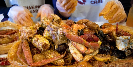 A family-style seafood boil at Shaking Crab.