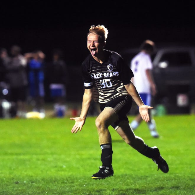 Jordan Bryant gets excited after scoring a goal in the second half of River View's 6-1 win against visiting West Muskingum on Tuesday night in Warsaw. The Black Bears clinched the MVL title with the win.