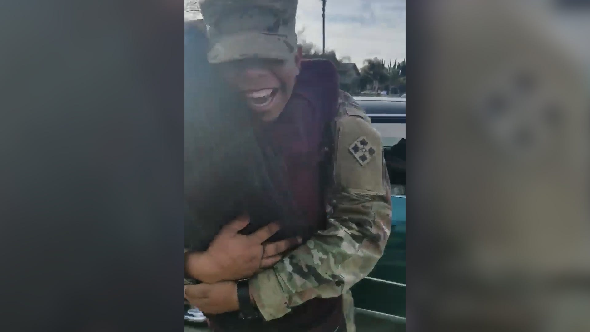 Soldier shows up in classic car for a big surprise
