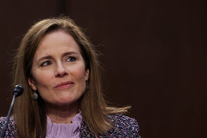 Supreme Court nominee Amy Coney Barrett testifies during the third day of her confirmation hearings before the Senate Judiciary Committee on Wednesday.