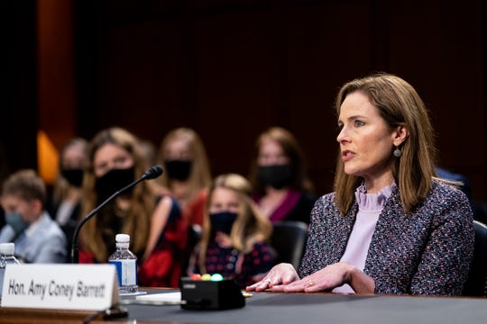 Supreme Court nominee Judge Amy Coney Barrett testifies before the Senate Judiciary Committee on the third day of her Supreme Court confirmation hearing on Wednesday.