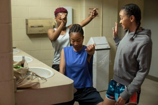 "Brittany Adebumola as Tamika Jones, Odley Jean as Dominque Pierre and Naiya Ortiz as Sonia Cruz in ""Grand Army."""