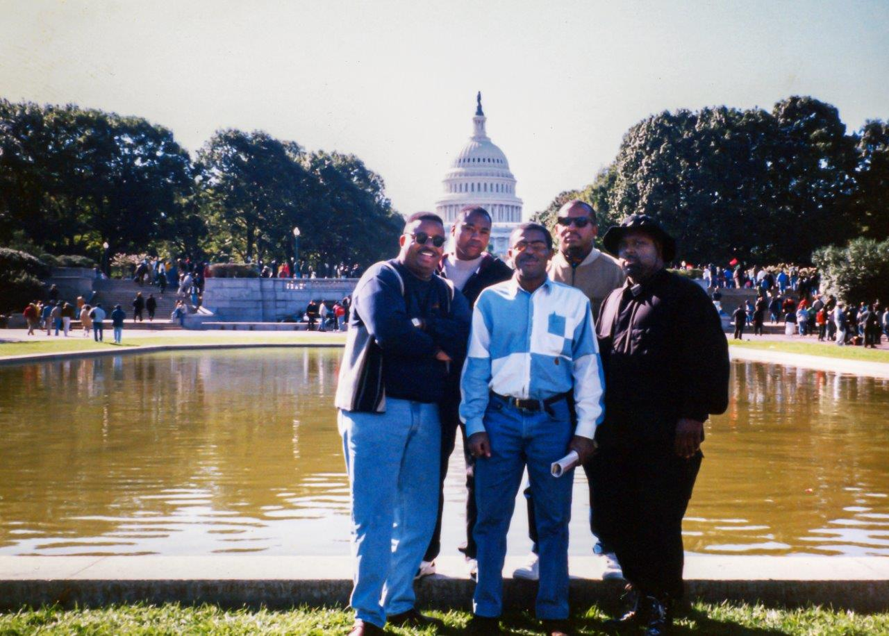 Anthony Ruff (second from left), pictured here with others who attended the march with him, said he wanted to be there because it would be historic. He started calling guys he had known since he was 13 to see who would go.