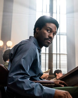 "Yahya Abdul-Mateen II portrays Bobby Seale, leader of the Black Panthers, in ""The Trial of the Chicago 7."""