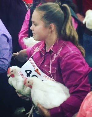 Rebekah Gordon has been showing broilers (chickens) and roasters in the Jim Wells County fair for five years