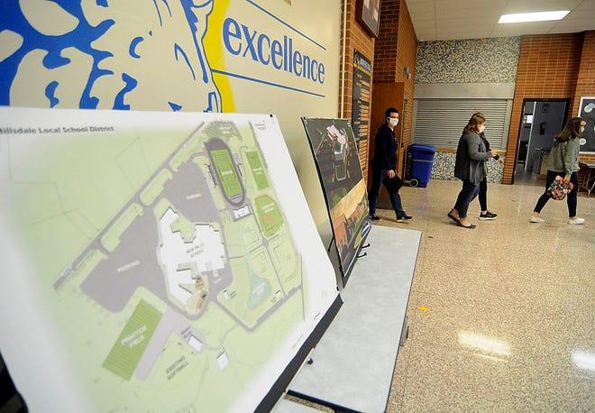 Hillsdale High School students leave the auditorium after a 3D tour of the new PK-12 building presentation on Thursday, Oct. 15, 2020. TOM E. PUSKAR/TIMES-GAZETTE.COM