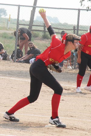 Rocky Ford High School's Abby McElroy sends a pitch to the plate against Alamosa in August. McElroy was named the Tri-Peaks League Player of the Year.
