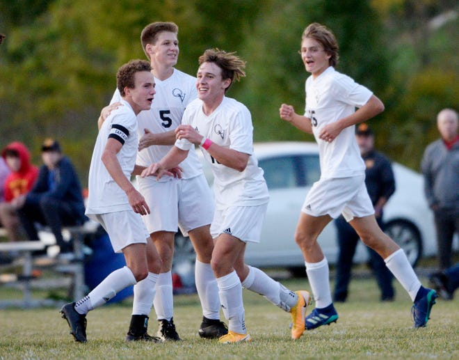Quaker Valley celebrates a goal against North Catholic earlier this season. The All-WPIAL and All-Section teams have been announced and feature a number of local players.