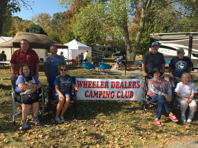 Attending their first Wheeler Dealers Camping Club campout were, from left, Bill and Pam Doyle, Sand Springs and Larry and Elaine Stevens, Bartlesville.  Right are Mark and Donna Matevia, Norman and Charley and Vie Bottger, Ponca City.
