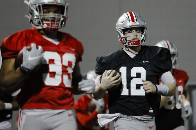 Quarterback Gunnar Hoak (12) returns for a second season at Ohio State, but he hasn't had much game experience in college.