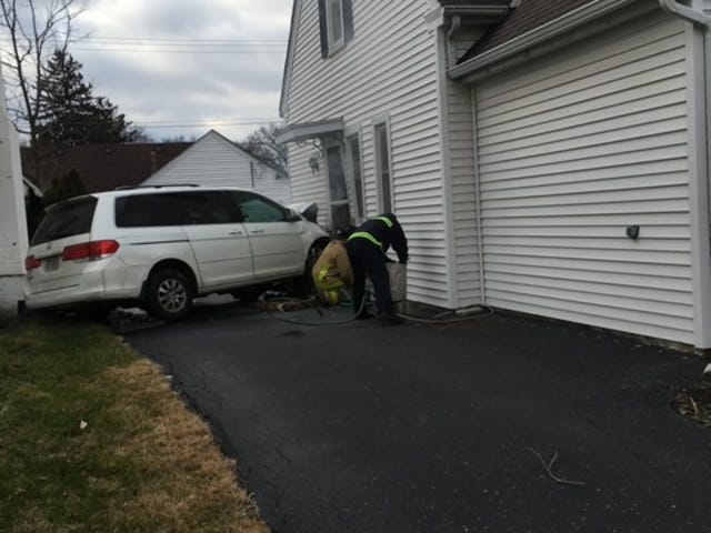 A car crashed into the East Livingston Avenue home of Ralph Walker on New Year's Day 2020. The driver was suspected to be under the influence of alcohol but speed may have also been a factor.