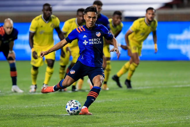 FC Cincinnati forward Yuya Kubo scores a first-half goal on a penalty kick against the Crew on Wednesday night at Nippert Stadium.