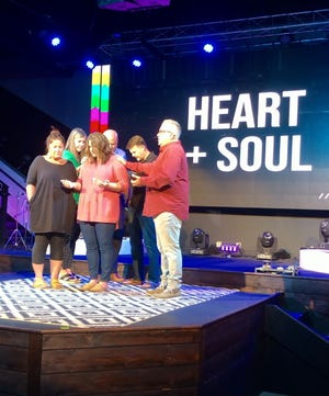 """Pastors Eric and Darlene Partin of Shoreline Church in Destin ordained Caroline Hareas a pastor recently. They affirmed her credentials with schooling, calling and gifting, making her a licensed and ordained pastor. """"They allowed my Waves Girls Conference Board of Directors to come and pray blessings over me during the ordination as well,"""" Hare said. """"My Waves Board that joined in were Mona and Mel Ponder and Keith Pace."""""""
