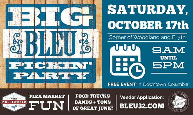 The Big Bleu Pickin' Party returns to downtown Columbia this Saturday from 9 a.m. to 5 p.m., featuring lots of local vendors, live music and food trucks. (Courtesy graphic)
