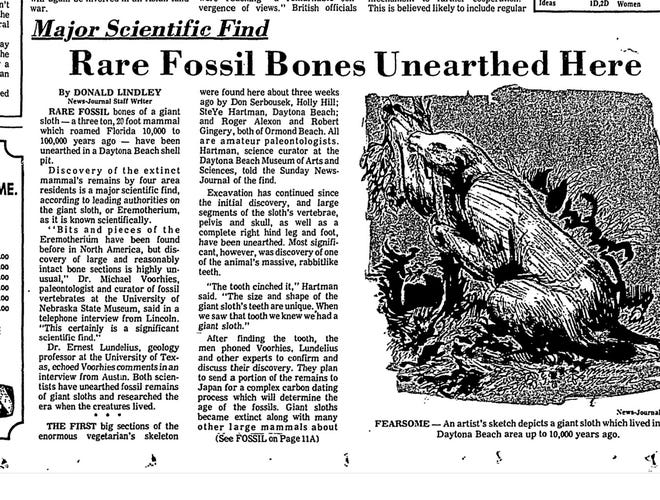 """Rare fossil bones unearthed here"" -- a Sunday News-Journal story announces sloth find, Nov. 16, 1975."