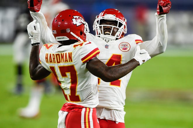 Chiefs wide receivers Sammy Watkins (14) and Mecole Hardman (17) celebrate Hardman's touchdown against Baltimore earlier this season. Hardman is expected to take on a larger role with Watkins out for Monday's game at Buffalo with an injury.