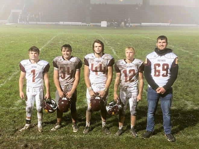 Danville High School seniors, from left Grifen Molle, Klayton Kleinkopf, Cole Jarrett, Brady Hall and Thomas Stewart have been a vital part of the Mount Pleasant High School football team this season.