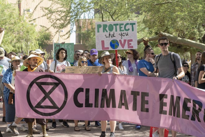 Hundreds of young people march from the Maricopa County Courthouse to the Arizona Capitol in Phoenix in September 2019 to demand action about climate change.