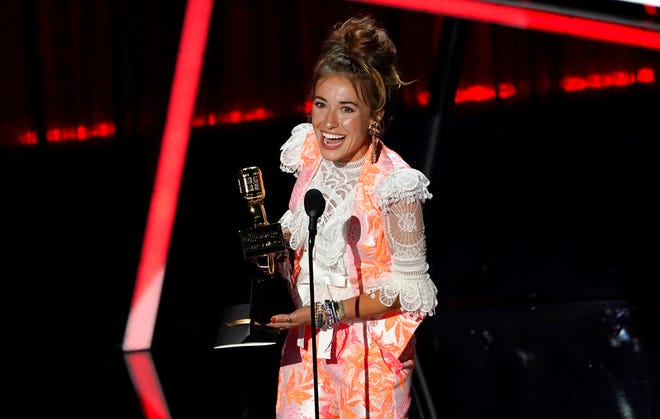 Lauren Daigle accepts the award for top Christian artist at the Billboard Music Awards on Wednesday, Oct. 14, 2020, at the Dolby Theatre in Los Angeles.