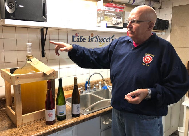 Retired Canandaigua firefighter Bryan Kransler is a maker of award-winning wines. He shares his Kransler Wines with friends and family.