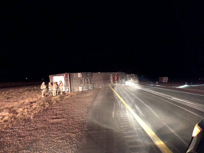 A big rig blocked both southbound lanes of Interstate 5 on Wednesday evening, Oct. 14, 2020.